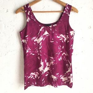 Theory purple and white abstract tank top